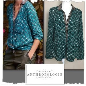 Maeve for Anthropologie Teal & Black Blouse